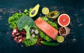 Картинка fruits, fish, vegetables