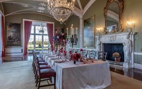 Картинка замок, интерьер, картины, камин, роскошь, столовая, банкетный зал, ballroom, Luttrellstown Castle