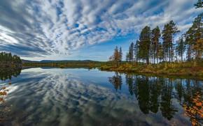 Картинка осень, небо, деревья, озеро, отражение, Швеция, Sweden, Lapland, Лаппланд, Kvikkjokk