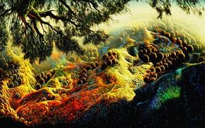Картинка пейзаж, рендеринг, холст, акрил, репродукция работы Эйвинда Эрла (Eyvind Earle, Над осенними холмами