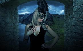 Картинка гроза, грудь, взгляд, девушка, горы, ночь, природа, лицо, стиль, перо, готика, берег, молния, камень, портрет, …