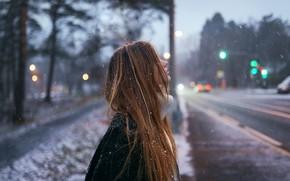 Картинка снег, профиль, локоны, Aleks Five