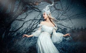 Картинка трава, девушка, свет, ветки, природа, лицо, поза, стиль, дерево, руки, фея, блондинка, костюм, наряд, рога, …