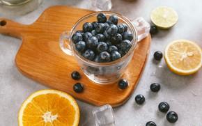 Обои ягоды, апельсин, лёд, черника, чашка, лайм, ice, фрукты, цитрусы, ломтики, cup, fruit, orange, lime, citrus, ...