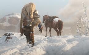 Картинка снег, следы, лошадь, шляпа, Rockstar, Бандит, Red Dead Redemption 2