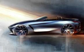 Обои рисунок, BMW, эскиз, профиль, родстер, BMW Z4, Z4, 2019