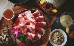 Картинка цветок, мясо, нарезка, лапша, соусы, азиатская кухня