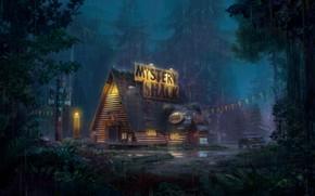 Картинка лес, дом, дождь, автомобиль, Mystery Shack