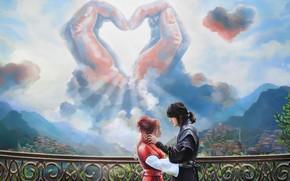Картинка небо, облака, любовь, мост, романтика, руки, пара, двое, перилла
