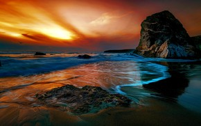 Картинка закат, побережье, Англия, Cornwall