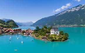 Картинка city, lake, homes, sailboats, luxuries