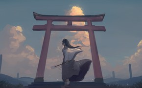 Картинка девушка, ветер, вечер