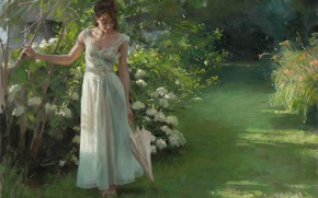 Картинка girl, grass, dress, umbrella, art, flowers, garden, painting, brunette, artist, white dress, Vicente Romero Redondo, …