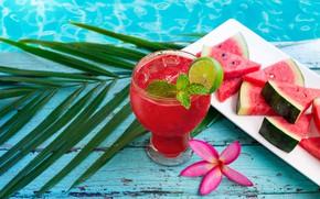 Картинка арбуз, сок, коктейль, summer, fresh, drink, watermelon, tropical, slice
