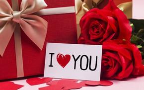 Картинка любовь, цветы, подарок, сердце, розы, red, love, romantic, hearts, valentine's day, gift, roses, I love ...