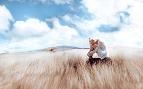 Картинка поле, девушка, свет, стиль, фэнтези, образ, сидит, фотоарт, Kindra Nikole