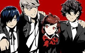Картинка игра, аниме, арт, друзья, персонажи, Persona 5, Персона 5