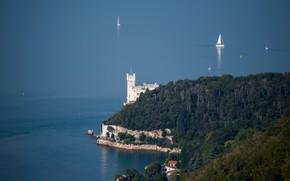 Картинка море, яхта, Италия, парус, Триест, замок Мирамаре