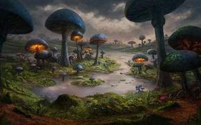 Картинка Природа, Рисунок, Грибы, Мир, World, Fantasy, Арт, Art, Фантастика, Environments, Dominique van Velsen, by Dominique …