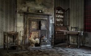 Картинка комната, камин, швейная машинка