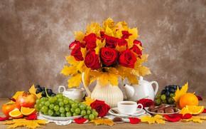 Картинка осень, листья, букет, конфеты, фрукты