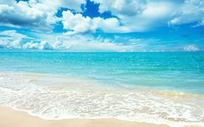 Картинка песок, море, пляж, облака