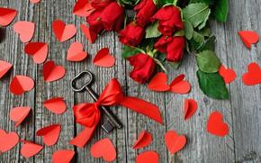 Картинка листья, цветы, яркие, доски, розы, букет, сердца, ключ, сердечки, красные, лежит, бант, день влюбленных, много, …