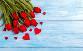 Картинка букет, сердечки, тюльпаны, красные