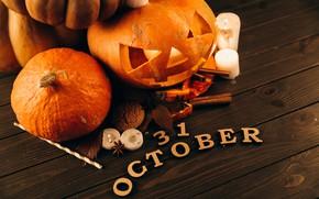 Картинка свечи, октябрь, тыквы, Halloween, Хэллоуин