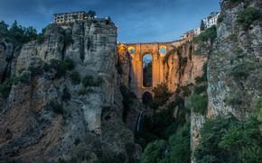 Картинка пейзаж, мост, природа, город, скалы, вечер, ущелье, Испания, Малага, Ронда, Эль Тахо