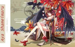 Картинка узор, катана, декольте, кимоно, ворон, Aya Shameimaru, кленовые листья, ножны, черные крылья, Touhou Project, тенгу, …