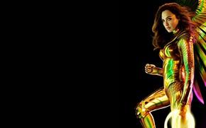 Картинка девушка, чёрный фон, валькирия, Wonder Woman 1984