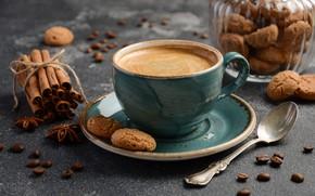 Картинка кофе, печенье, корица, пряности