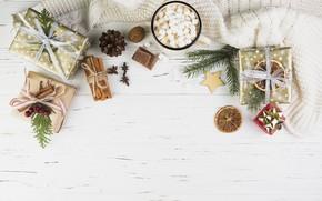 Картинка праздник, горячий, шоколад, подарки, Новый год, корица, Star, wood, декор, пряности, New year, Gift, composition