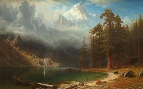 Картинка горы, берег, водоём, Albert Bierstadt, Mount Corcoran