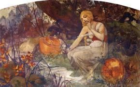 Картинка 1896, Альфонс Муха, Славянский эпос, Пророчица