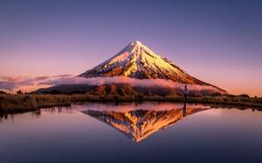Картинка облака, озеро, отражение, гора