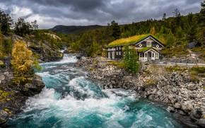 Обои крыша, осень, лес, небо, трава, вода, облака, горы, тучи, дом, река, камни, пасмурно, холмы, берег, ...