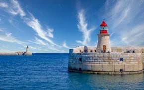 Картинка море, небо, маяк, Средиземное море, Malta, Мальта, Валлетта, Valletta, Mediterranean Sea, St Elmo Lighthouse