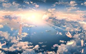 Картинка небо, девушка, облака, фея, ツチヤ