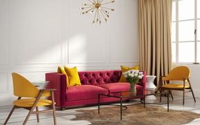 Картинка диван, интерьер, кресла, люстра, ваза, гостиная, модерн