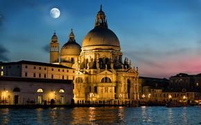Картинка ночь, город, луна, освещение, Италия, Венеция, собор, архитектура, Гранд-канал