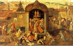 Картинка религиозная живопись, Иероним БОСХ, Христос изгоняет торгующих из храма