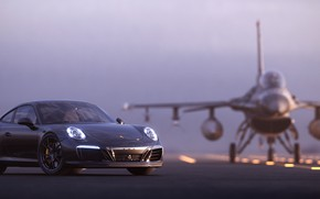 Картинка рендеринг, 911, Porsche, F-16, 2018, Carrera T