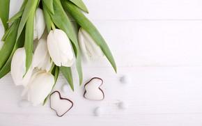 Картинка праздник, пасха, пряники, белые тюльпаны