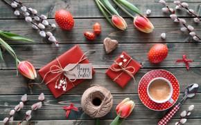 Картинка кофе, Пасха, тюльпаны, Праздник, wood, композиция, Anya Ivanova