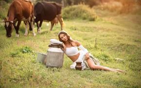 Картинка girl, legs, photo, photographer, model, brunette, sitting, portrait, Anna Shuvalova