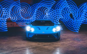 Картинка фары, Ford, суперкар, Ford GT, 2017, H040, Riviera Blue