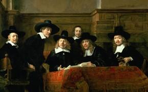 Картинка масло, картина, холст, Rembrandt Harmenszoon van Rijn, Рембрандт ван Рейн, 1662, Старшины гильдии ткачей в …