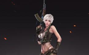 Обои взгляд, девушка, поза, оружие, фон, арт, блондинка